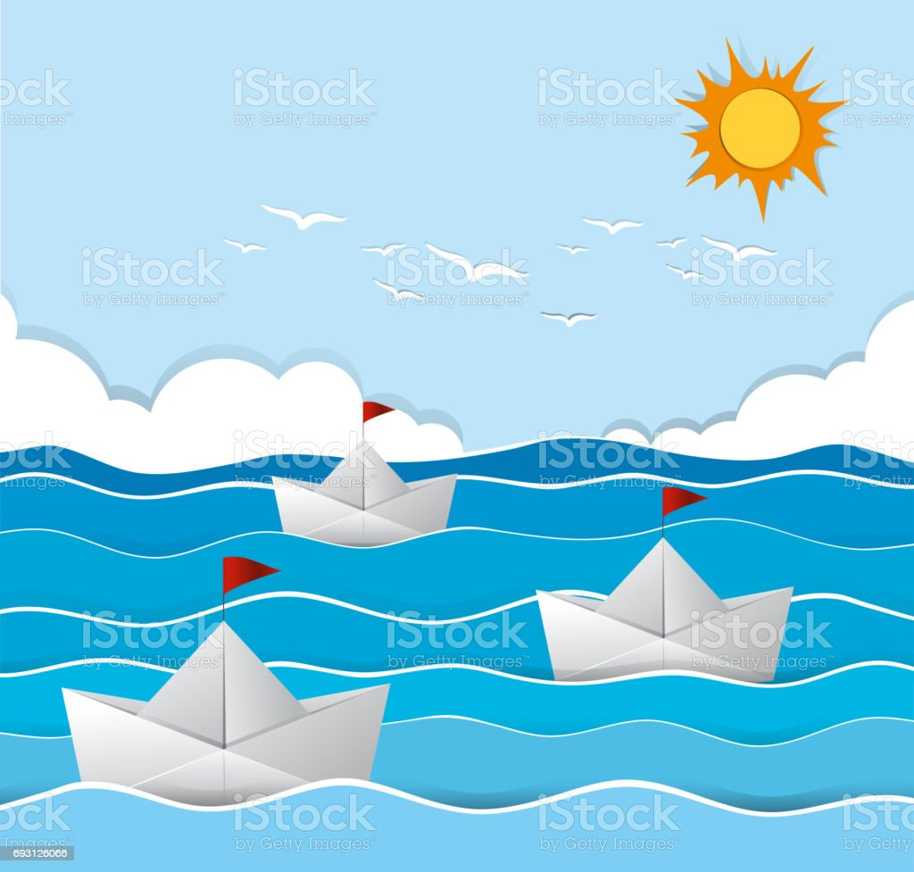 Origami boats sailing in the sea vector art illustration