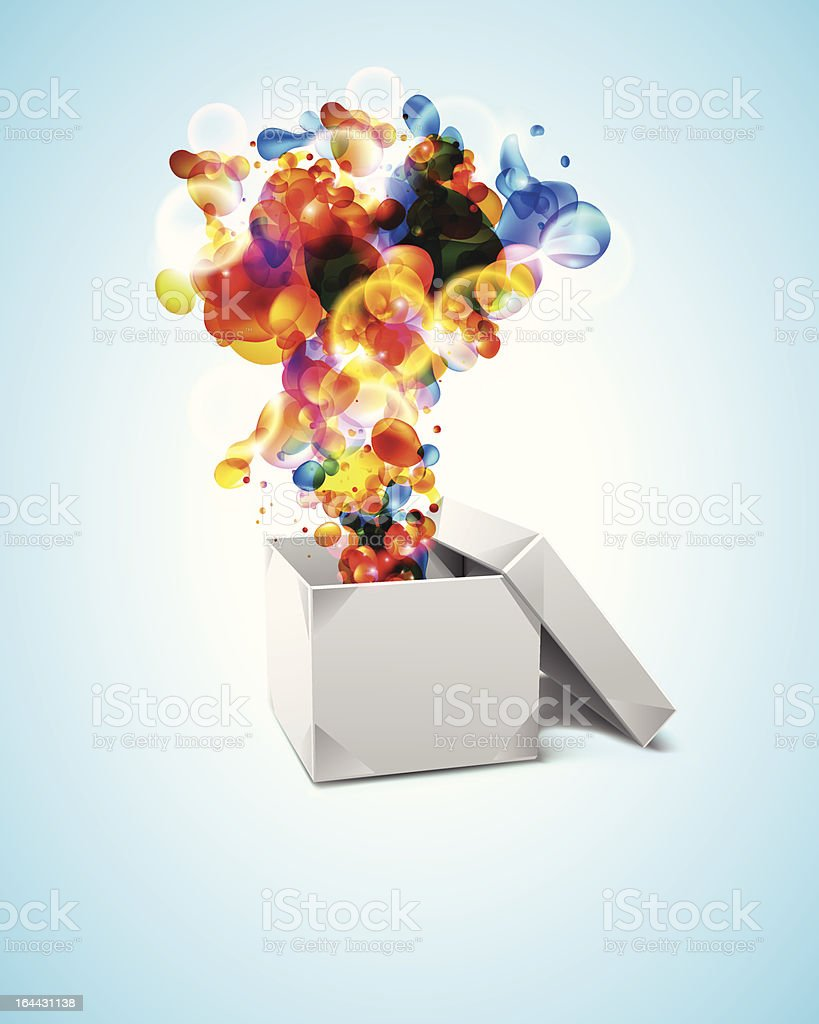 Origami Box with Abstract Bubbles. vector art illustration