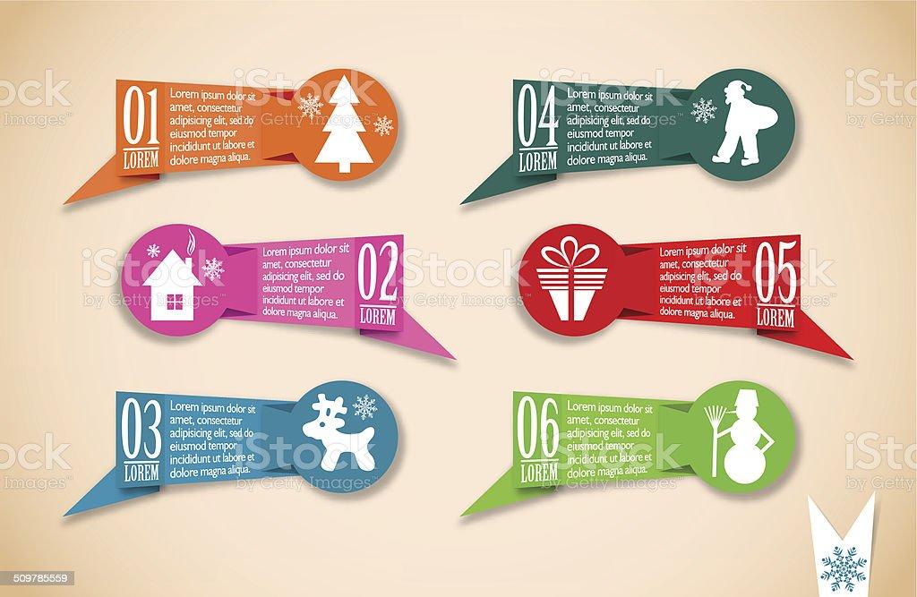 Origami Christmas banners set vector art illustration