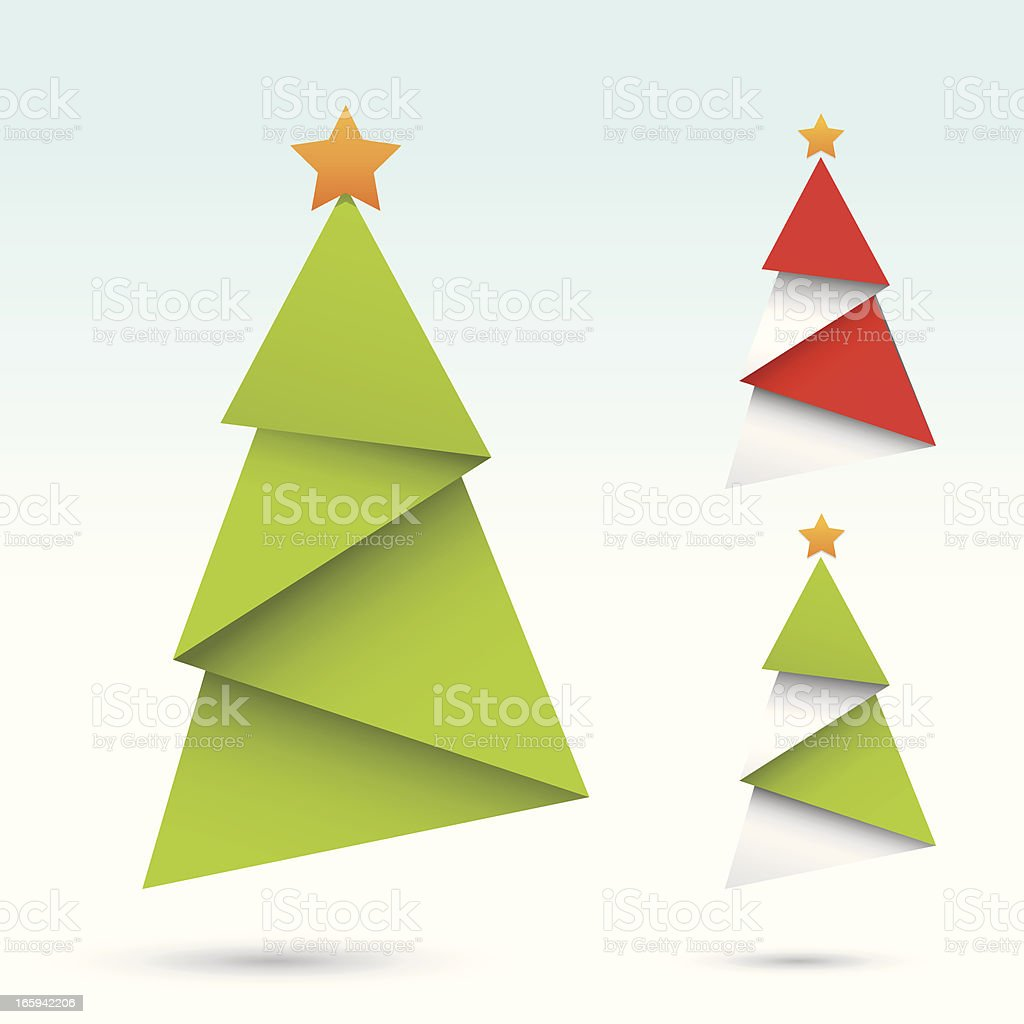 origami christmas tree vector art illustration