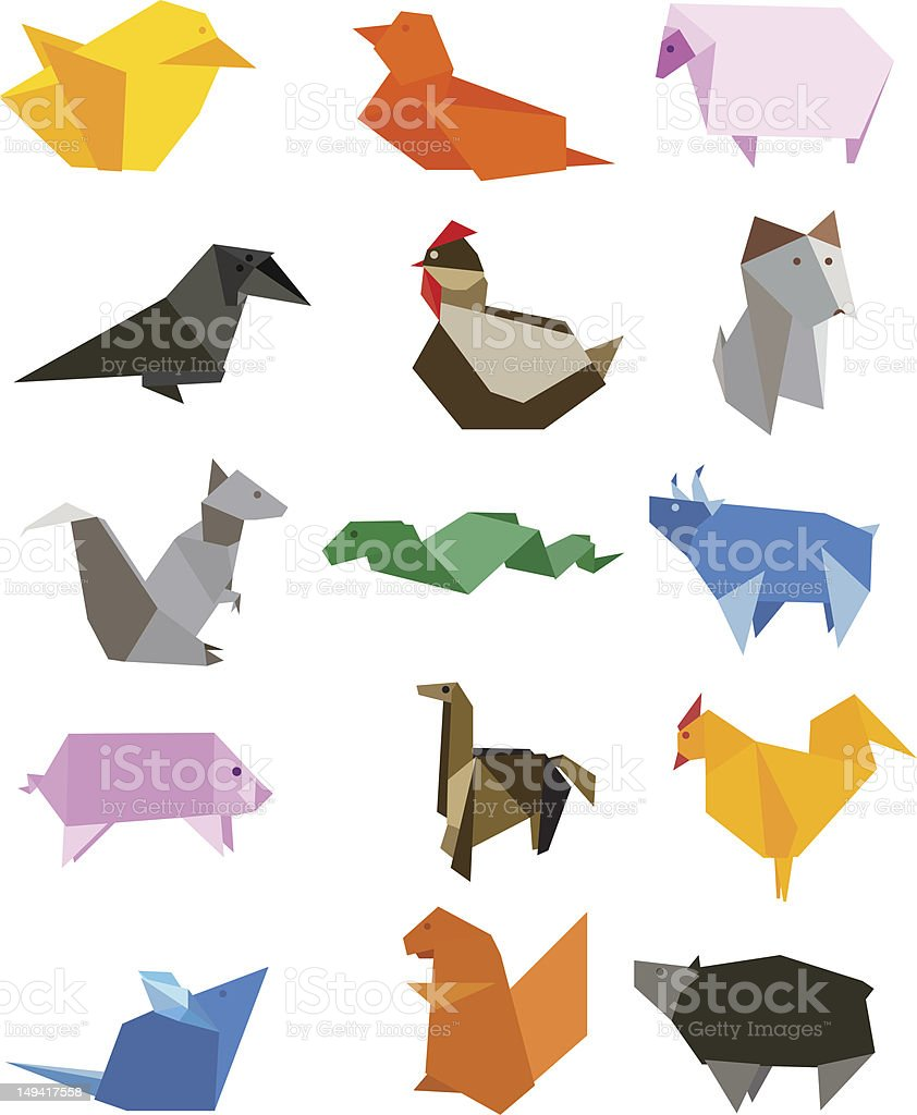 Origami Country Farm Animals Icon Set vector art illustration