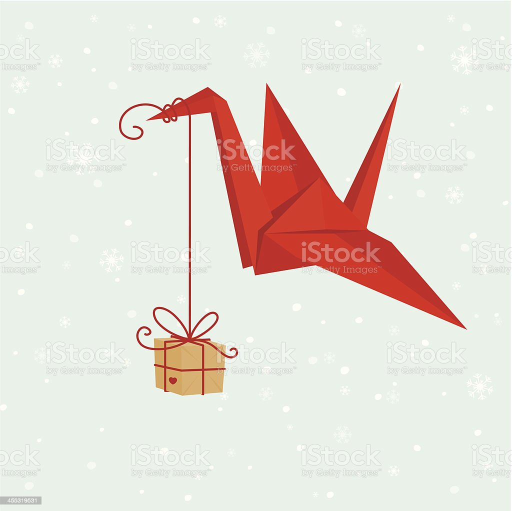 Origami crane with gift vector art illustration