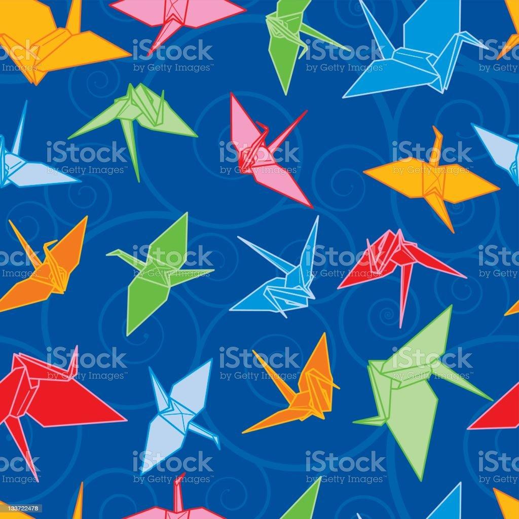 Origami Cranes vector art illustration