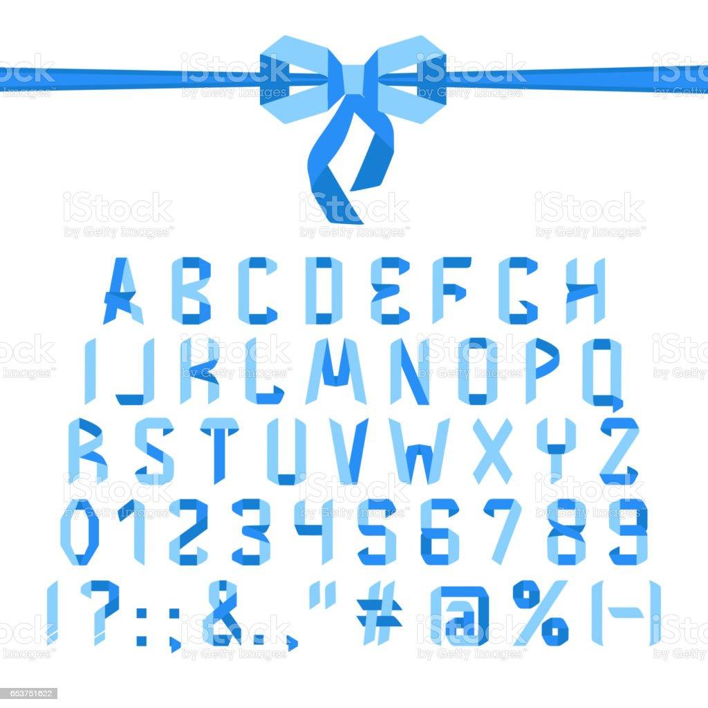 Origami font alphabet vector art illustration