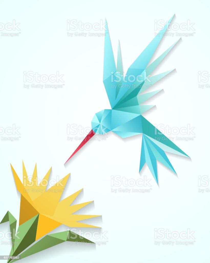 Origami hummingbird with flower. Paper 3D humming bird vector illustration vector art illustration