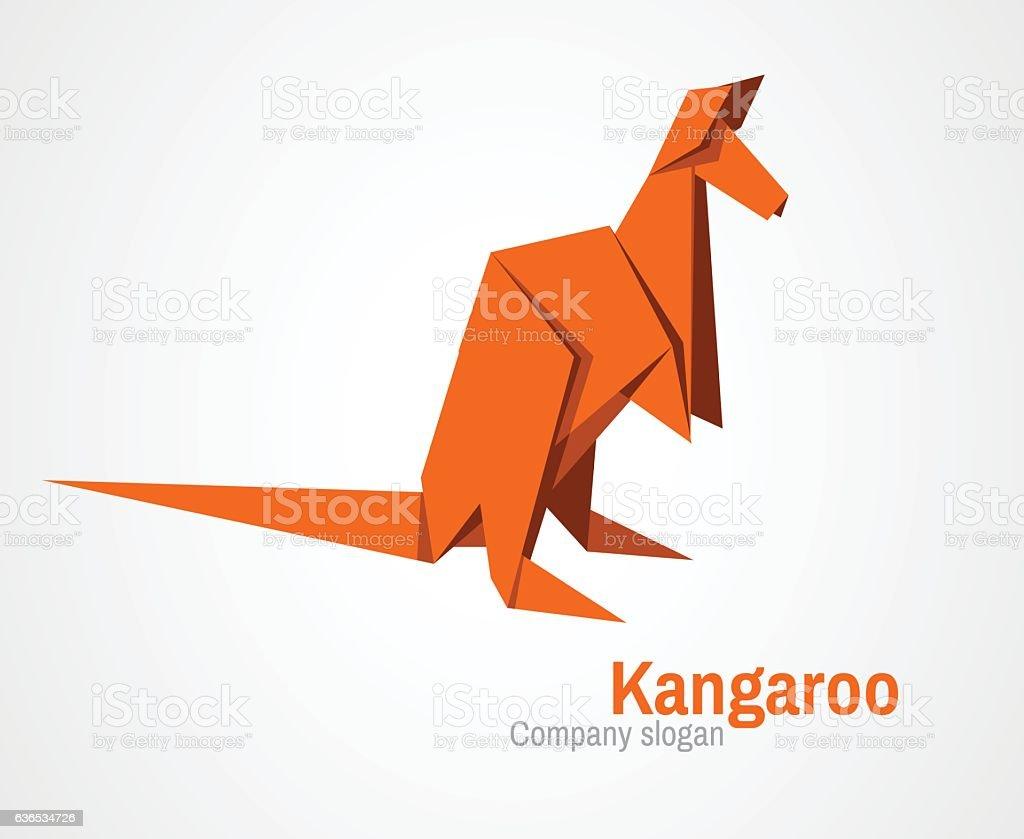 origami kangaroo logo vector art illustration