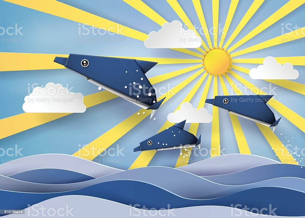 Origami made dolphin and sailing boat Float on the sea vector art illustration