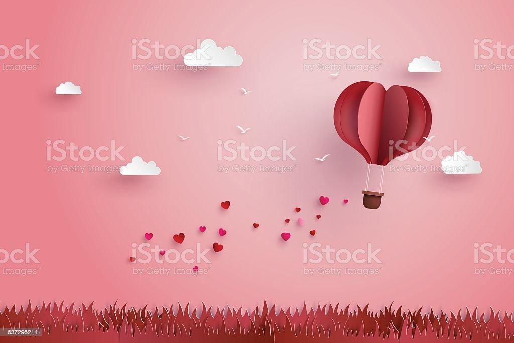 Origami made hot air balloon and cloud vector art illustration