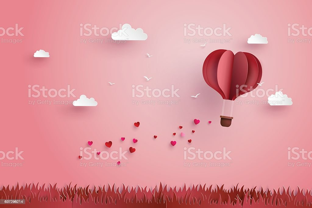 Origami made hot air balloon and cloud vector art illustration