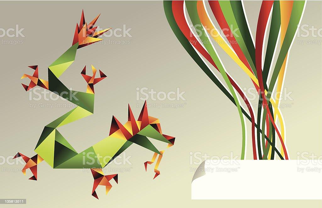 Origami multicolored dragon royalty-free stock vector art