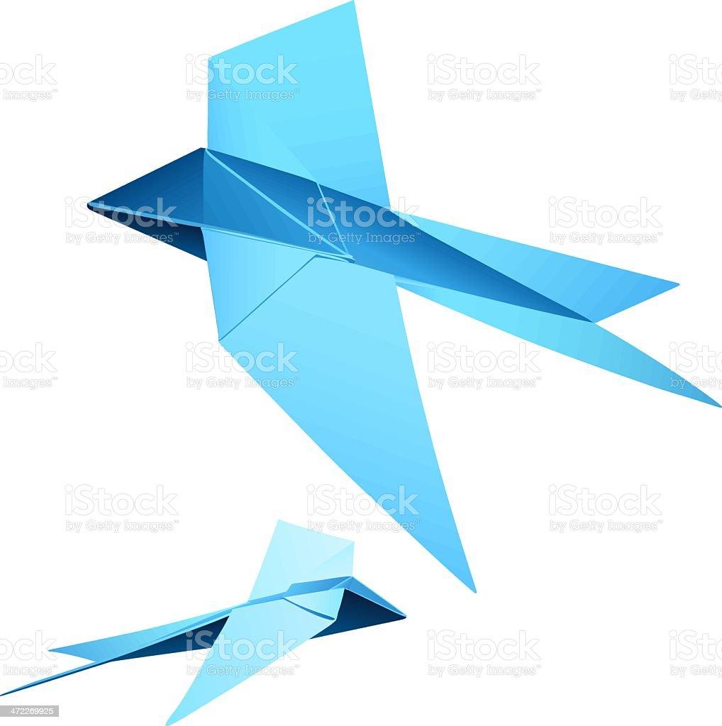 Origami 'Pair swallows' (vector) royalty-free stock vector art