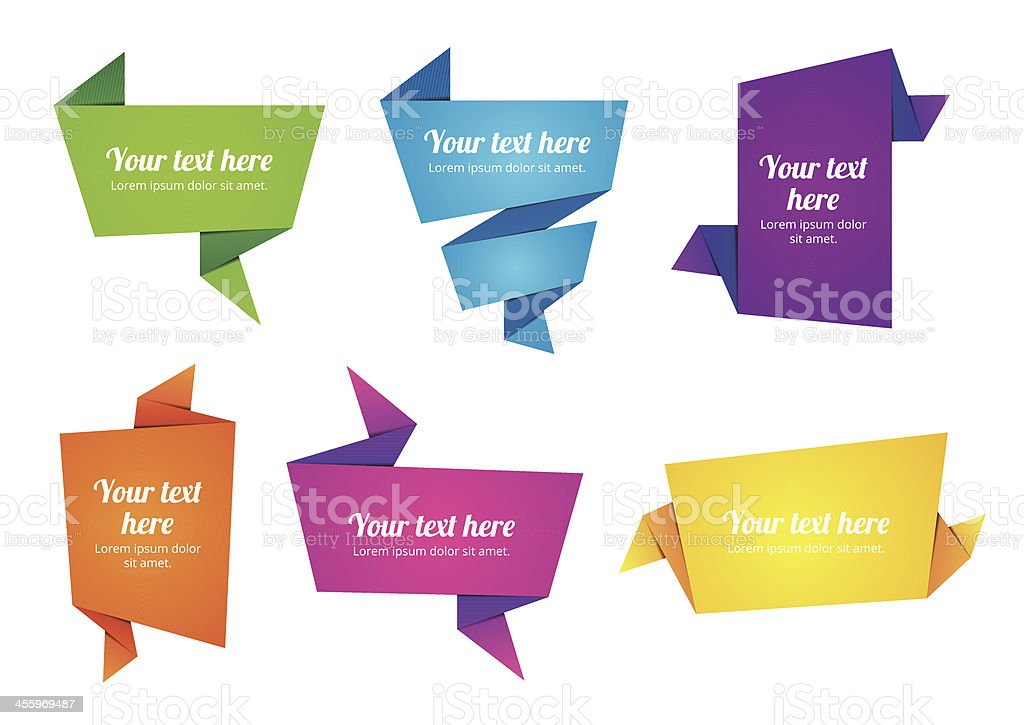 Origami Paper Banner vector art illustration