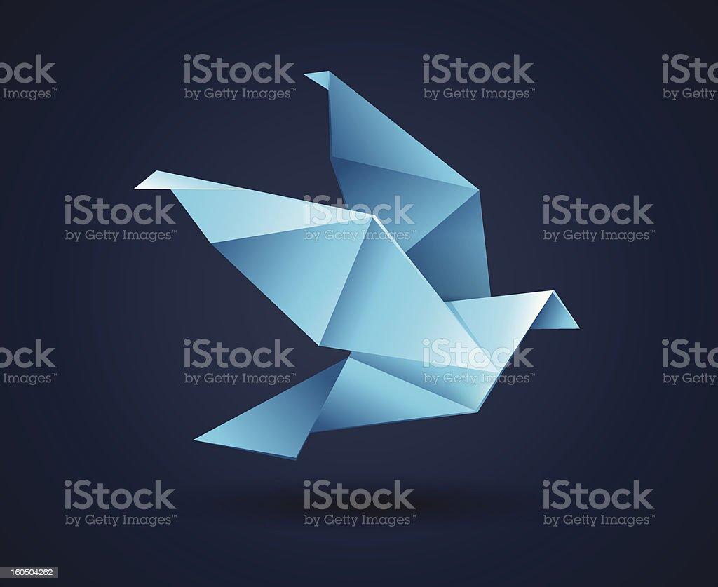Origami Paper Bird vector art illustration