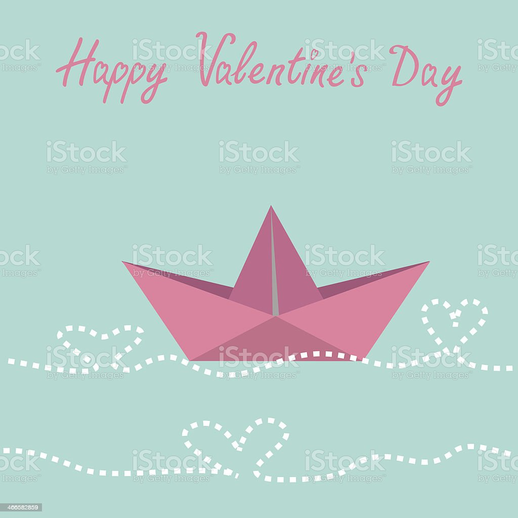 Origami paper boat and waves in shape of heart. royalty-free stock vector art