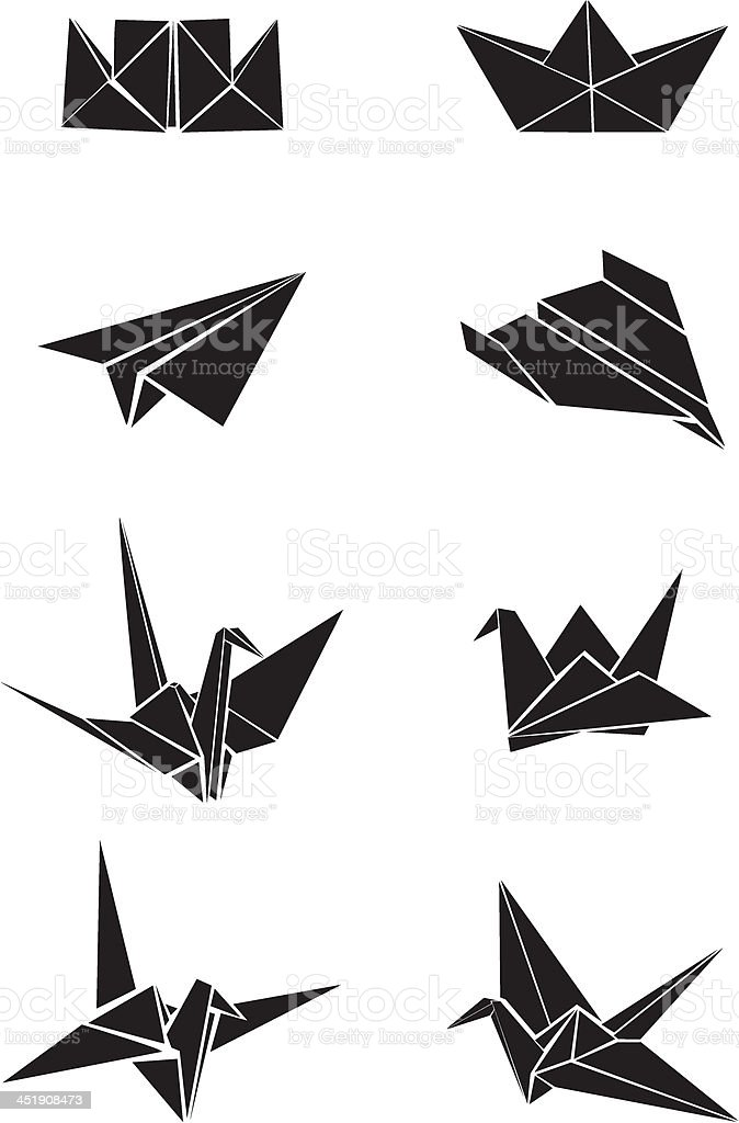 Origami paper boats, planes and cranes vector art illustration