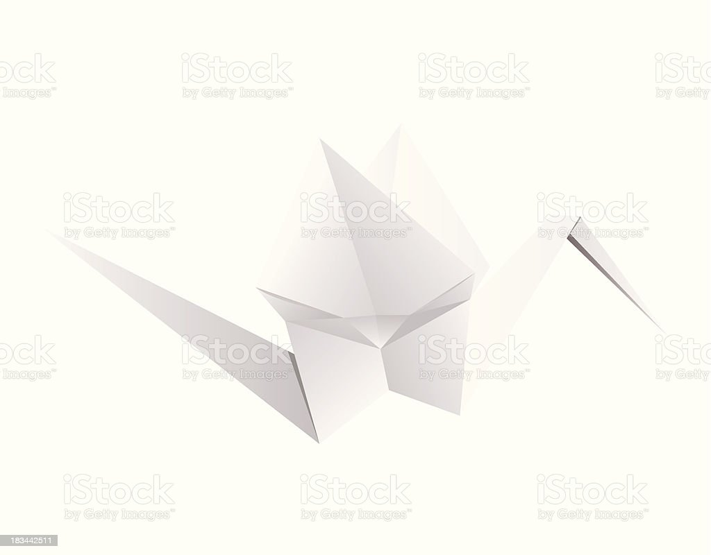 Origami. Paper crane. royalty-free stock vector art