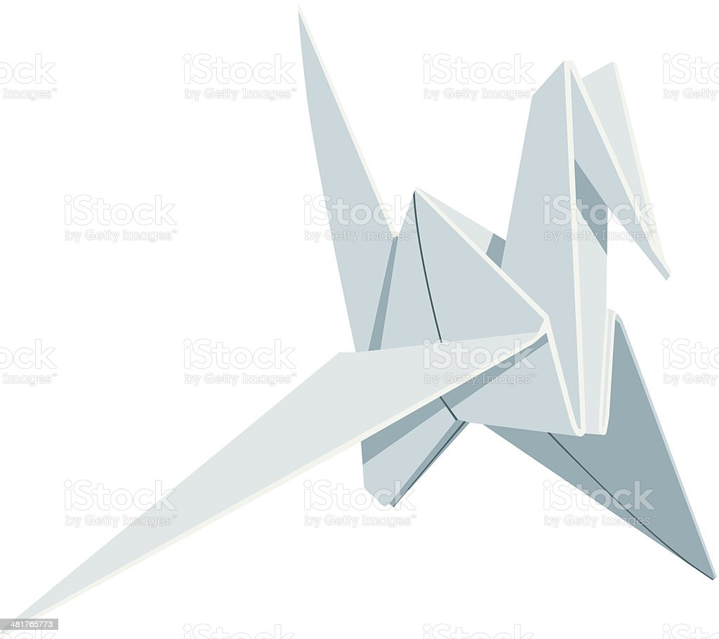 Origami Paper Crane vector art illustration