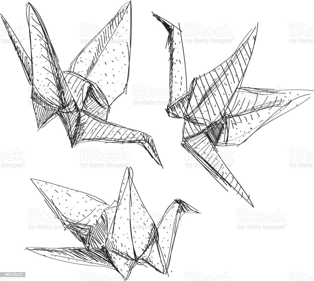 Origami paper cranes set sketch. The black line white background. royalty-free stock vector art