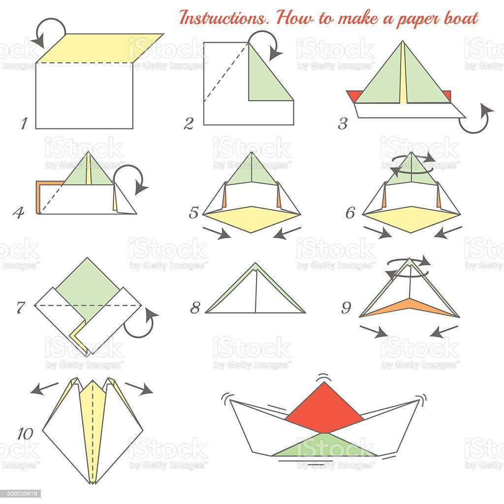 Origami paper ship vector art illustration