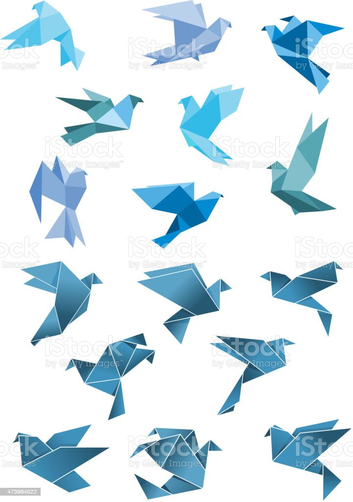Origami paper stylized blue flying birds vector art illustration