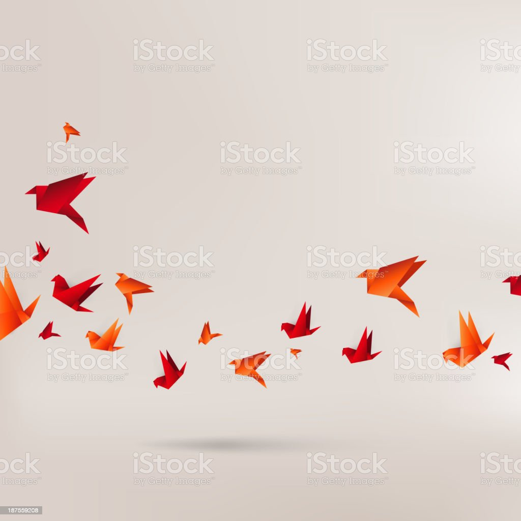 Origami red birds on brown background vector art illustration