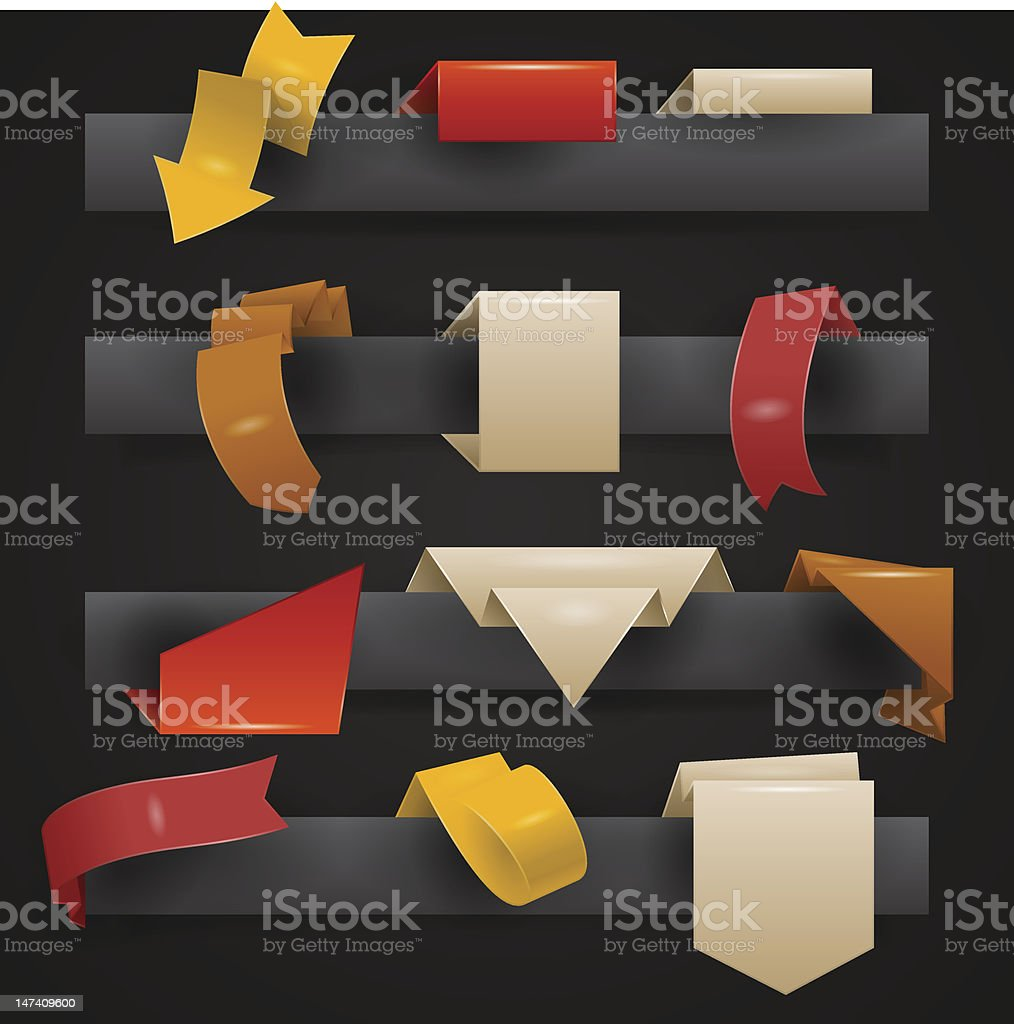 Origami ribbons vector art illustration