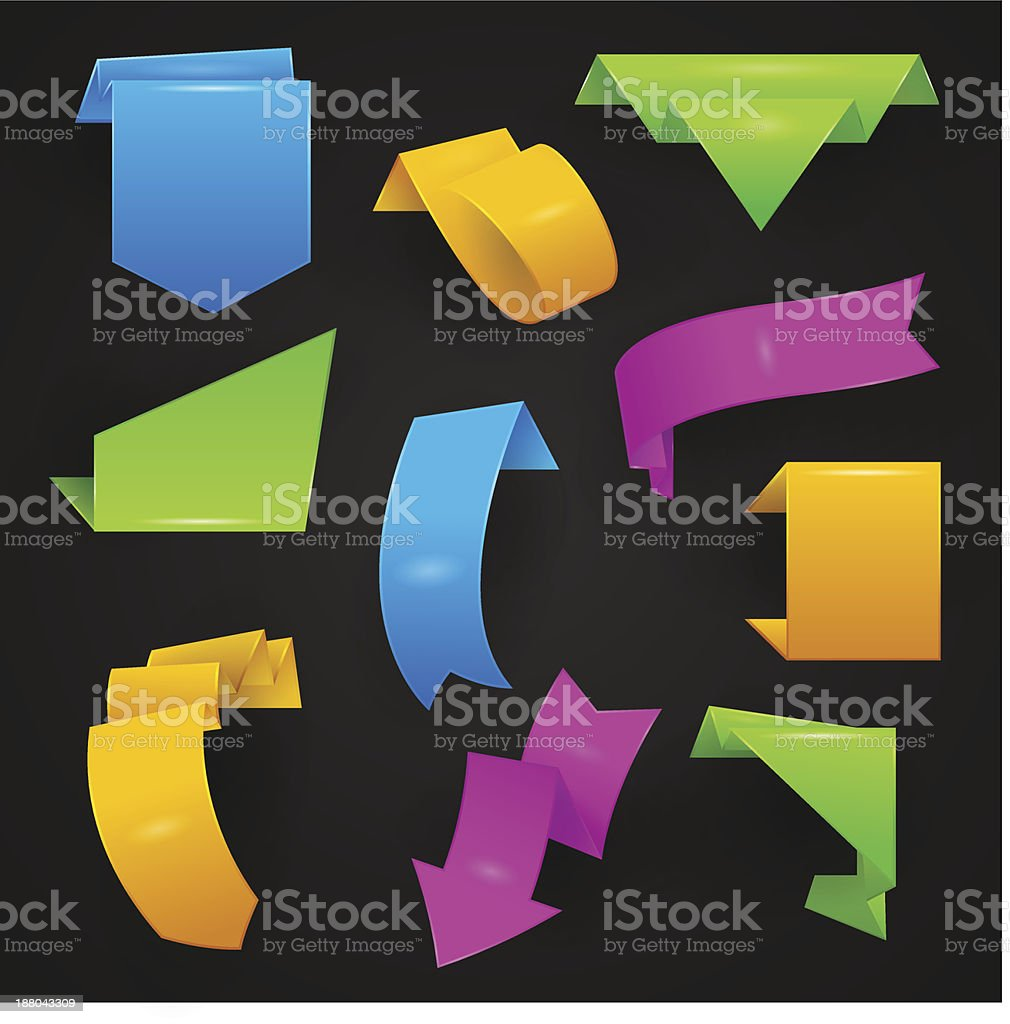Origami sale ribbons vector art illustration