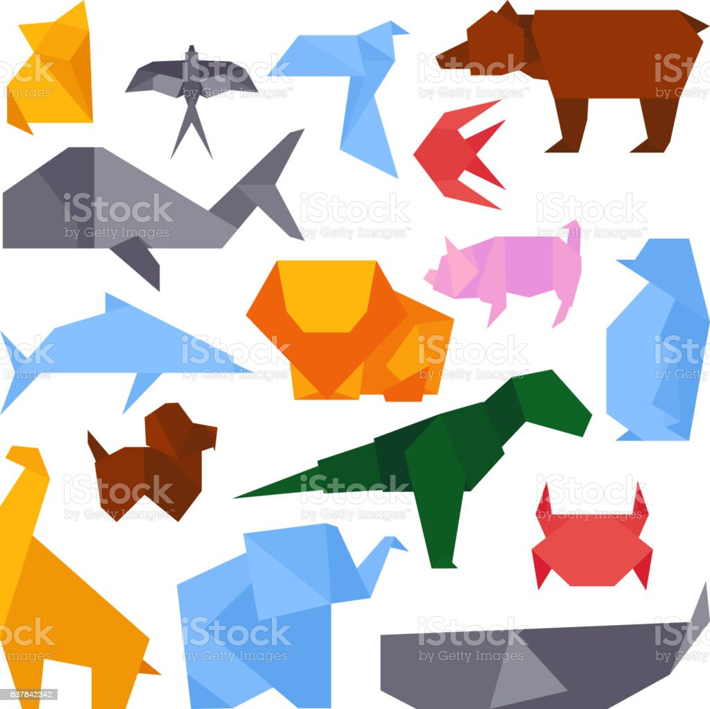 Origami style illustrations of different animals vector. vector art illustration