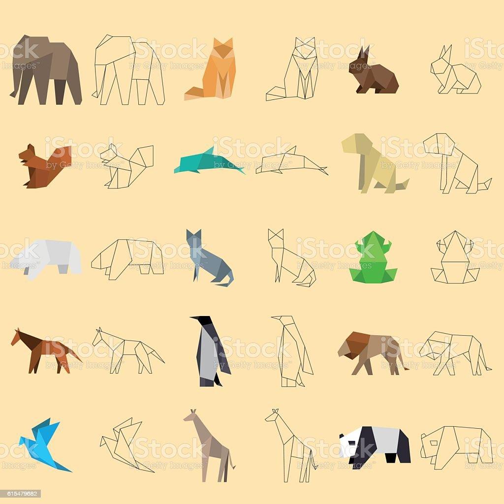 origami_animals vector art illustration