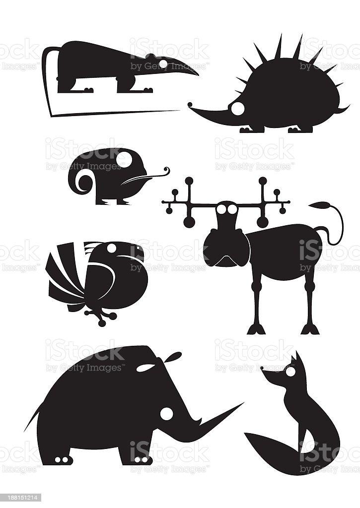 original art animal silhouettes royalty-free stock vector art