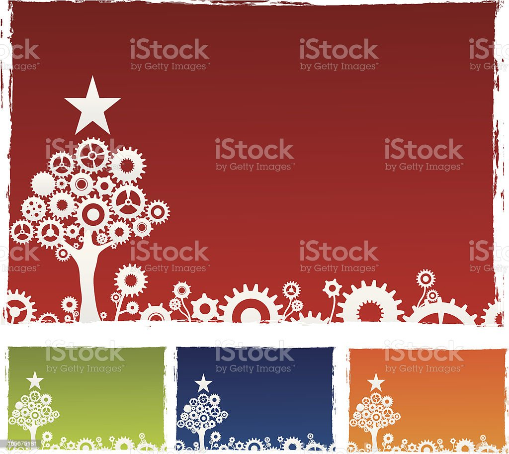 Original Christmas with gears vector art illustration
