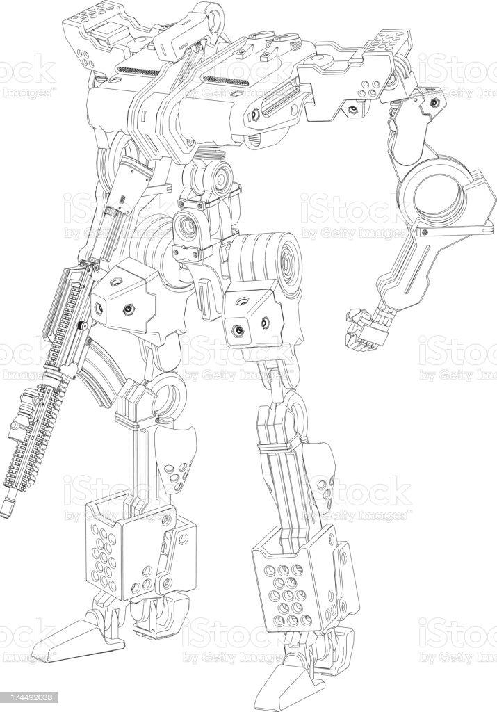 Original design robot[Outline illustration] royalty-free stock vector art