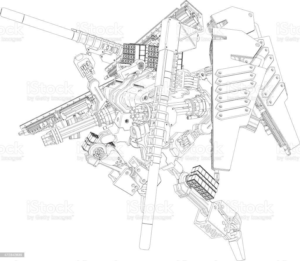 Original design robot[Outline illustration] vector art illustration