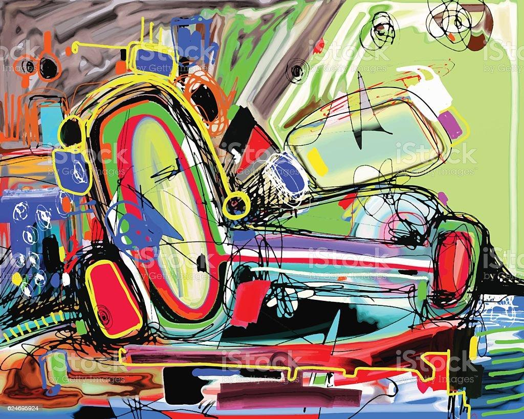 original digital painting of abstraction composition vector art illustration