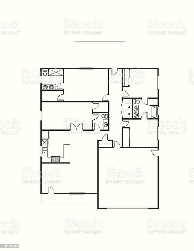 Original drawing of house specifications royalty-free stock vector art