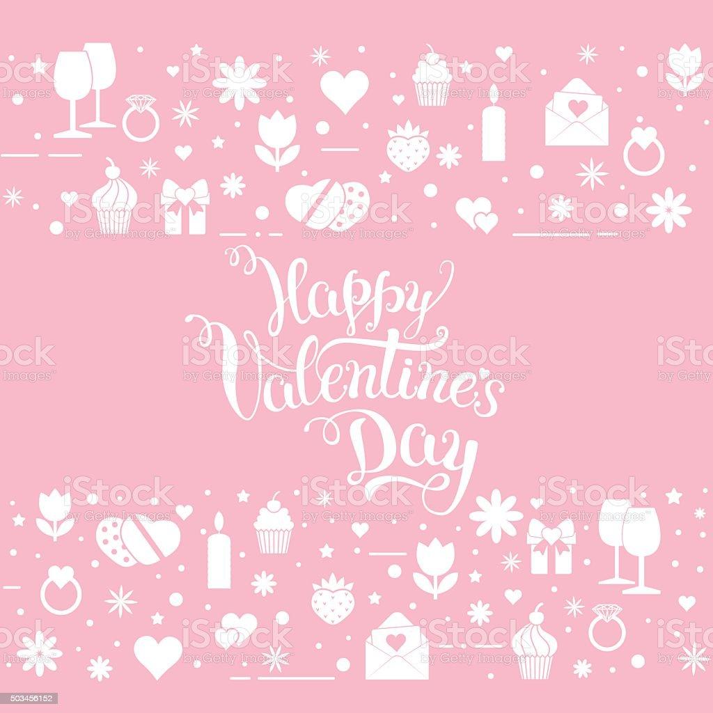 Original hand lettering 'Happy Valentine's day' with Valentine's vector art illustration