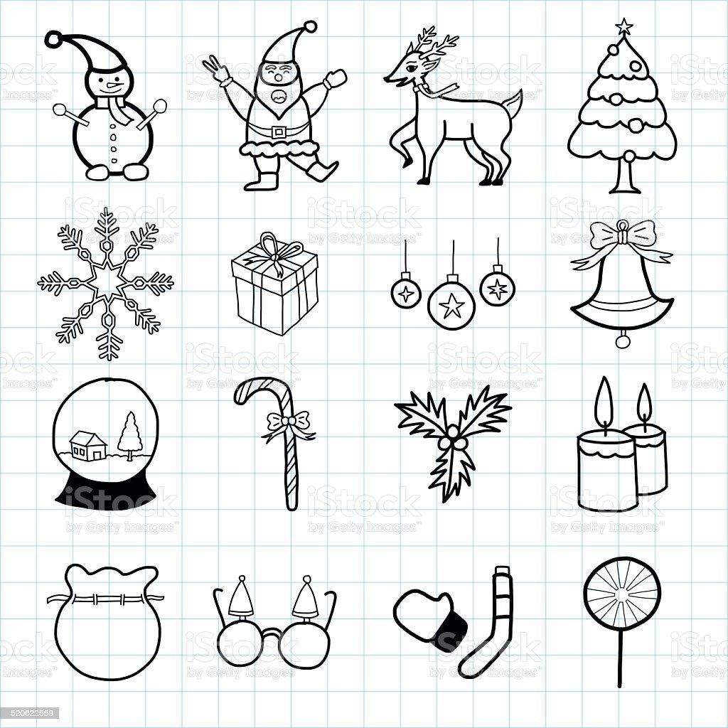 Lignes originales dessinées à la main icon set de Noël stock vecteur libres de droits libre de droits