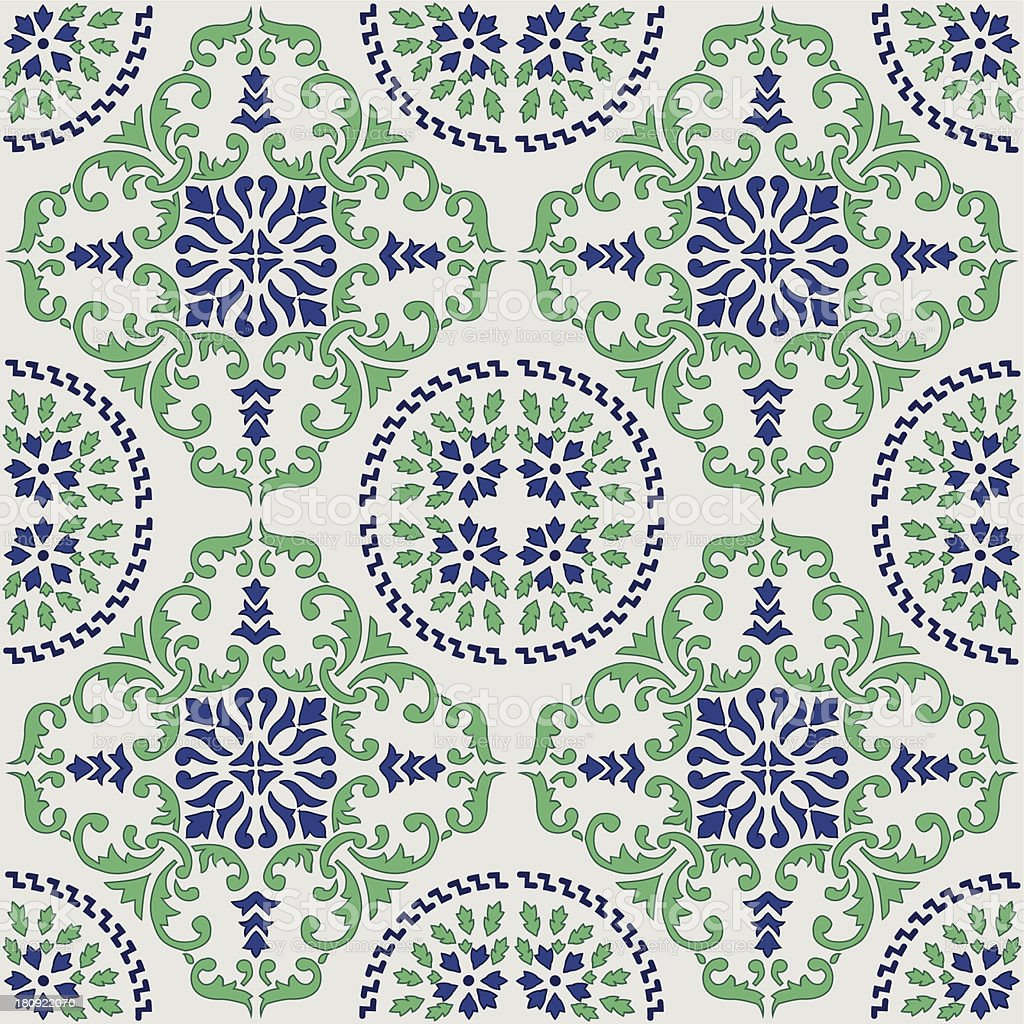 original mediterranean tile from Sicily vector art illustration