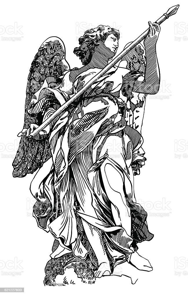 original sketch digital drawing of marble statue angel vector art illustration