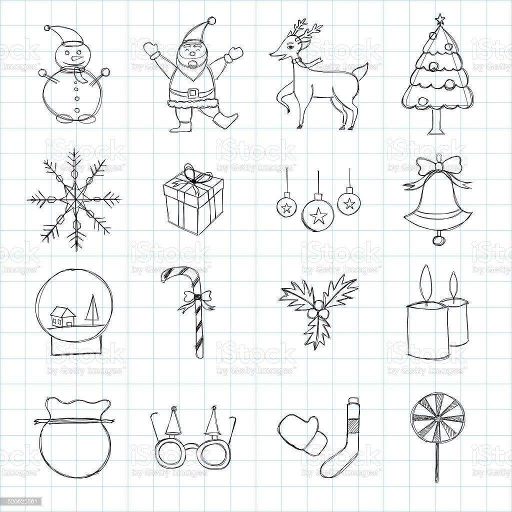Des croquis main dessiné Ensemble d'icônes de Noël stock vecteur libres de droits libre de droits