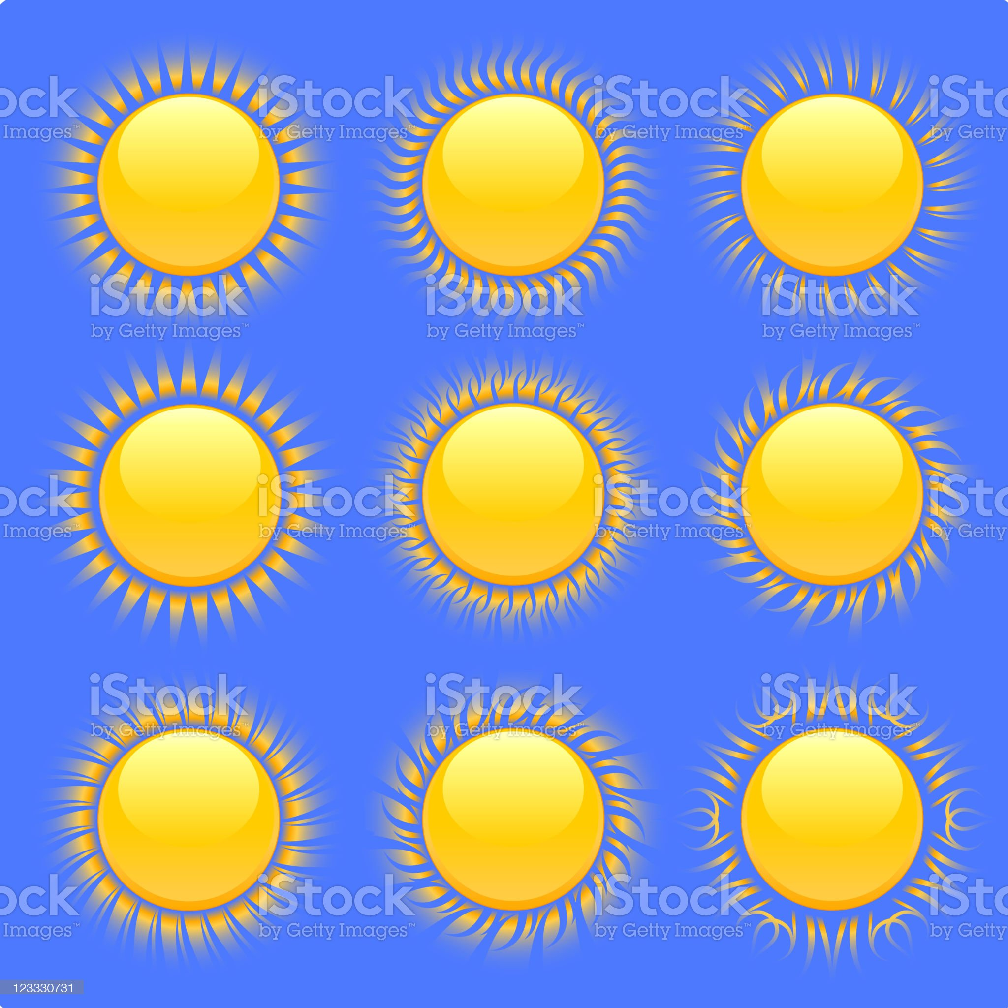 original sun designs on blue Background royalty-free stock vector art