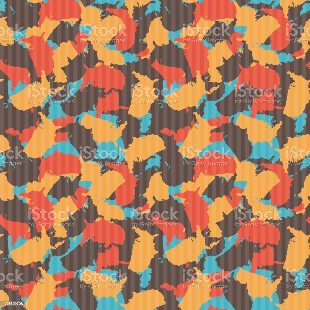 Original USA shape camo seamless pattern. Colorful America urban camouflage. Vector fabric textile print design vector art illustration