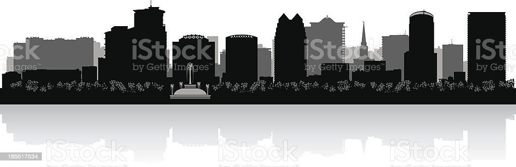 Orlando Florida city skyline silhouette vector art illustration