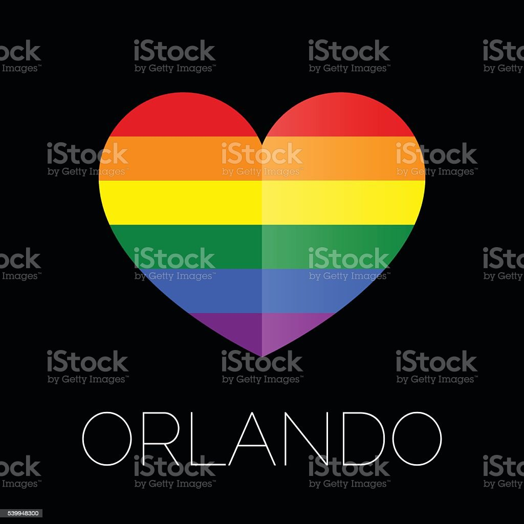 Orlando tragedy. Gay colors heart shape on black background. vector art illustration
