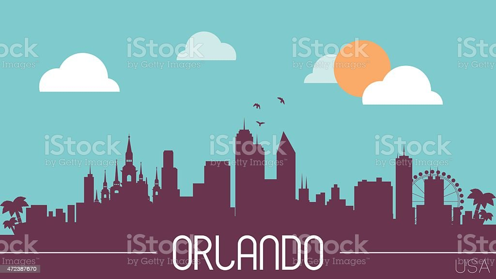Orlando USA skyline silhouette vector art illustration