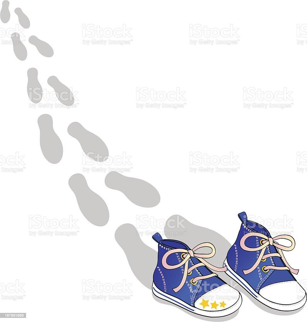 Orme di scarpine blue vector art illustration