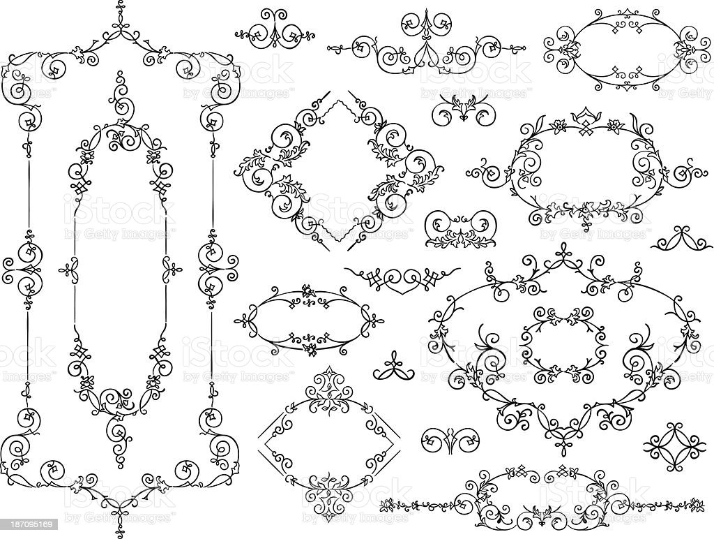 Ornament design elements black on white vector art illustration