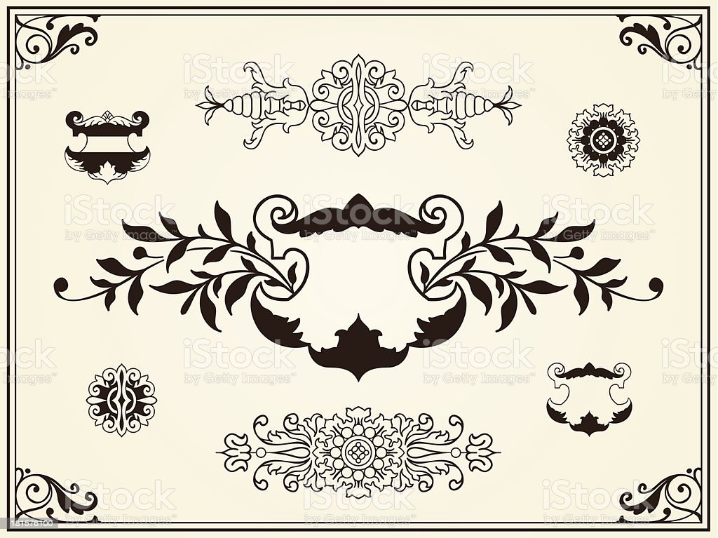Ornament design elements on parchment royalty-free stock vector art