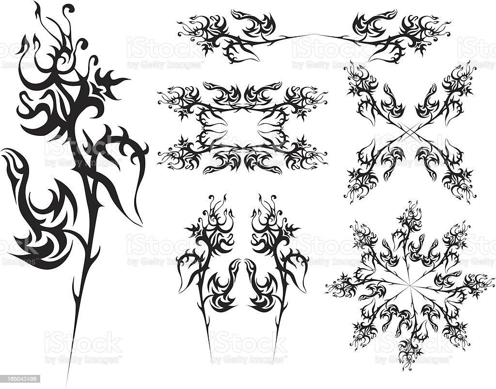 Serie-gotischen Blume ornament Lizenzfreies vektor illustration
