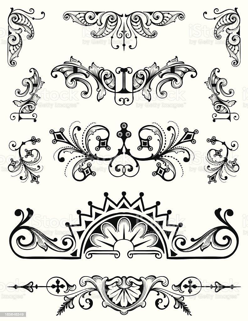 Ornament Set vector scrollwork hand engraving designs vector art illustration